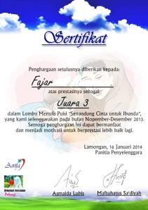 sertifikat fajar